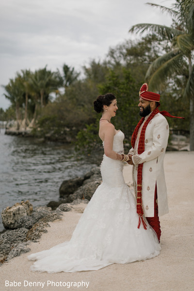 Beach side Indian bride and groom photo shoot. in Key Largo, FL South Asian Fusion Wedding by Babe Denny Photography