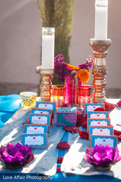 Dreamy Indian wedding seating card's  table.