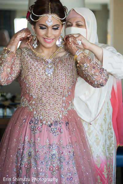 Lovely Muslim bride getting ready