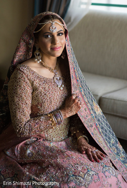 Gorgeous pink and gold lengha