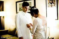 indian parsi bride and groom,getting ready,wedding ceremony fashion