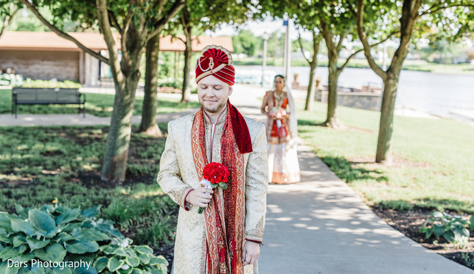 first look photography,indian bride and groom,indian groom fashion