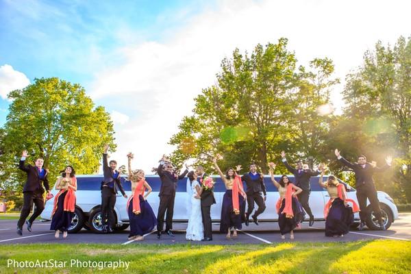 indian bridesmaids,indian groomsmen,transportation