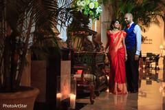indian bride and groom,indian wedding reception,reception fashion