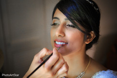 indian bride,getting ready,white sari,hair and makeup