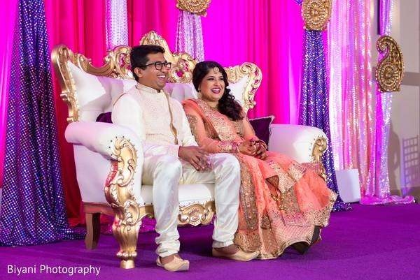 Indian bride and groom enjoying their sangeet night