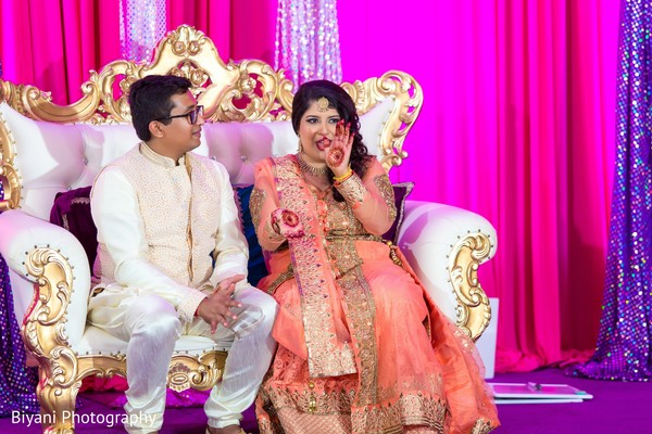 Indian bride showing her mehndi art