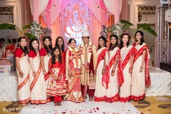 indian wedding ceremony,indian bride and groom portrait,indian bridesmaids' fashion