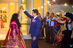 indian wedding reception,fireworks,indian bride and groom