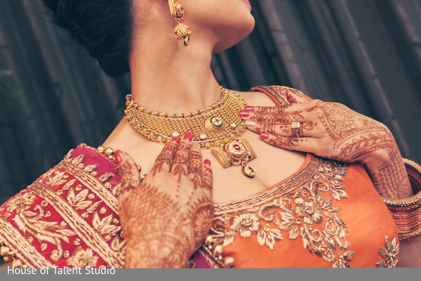 Indian bride mehndi and jewelry.