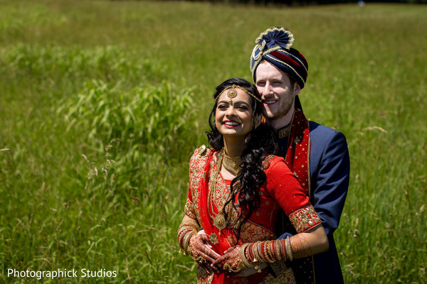 Heart melting first look capture in Manassas, VA Fusion Indian Wedding by Photographick Studios