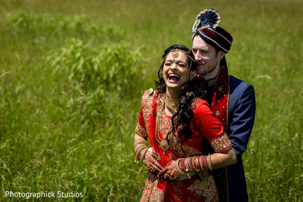 Cute first look capture in Manassas, VA Fusion Indian Wedding by Photographick Studios