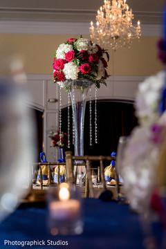 indian wedding reception,favors,floral centerpieces,indian wedding reception floral and decor