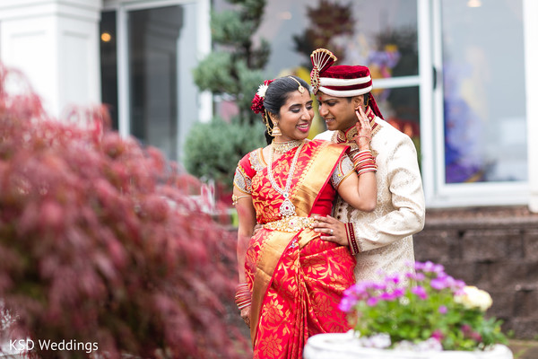 Heart melting first look scene in Spring Valley, NY Indian Wedding by KSD Weddings