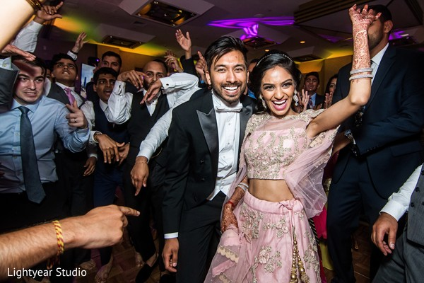indian wedding reception,dj,dance,indian bride and groom