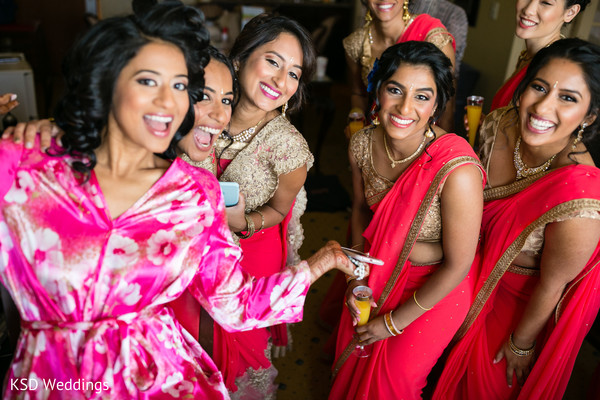 indian bride,indian bride getting ready,indian bridesmaids,indian bridesmaids' fashion