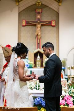 Catholic wedding ceremony religious rite.
