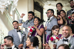 Indian bridesmaids and groomsmen candid shot.