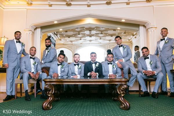 Elegant Indian groom and groomsmen photo.