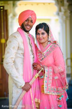 indian couple,indian wedding fashion,peach lengha