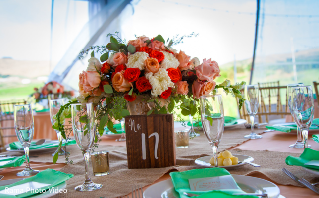 Beautiful outdoor indian wedding reception