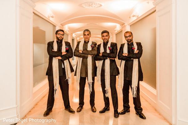 Elegant Indian groom and groomsmen fashion.