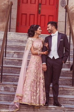 Indian bride and groom sophisticated looks.