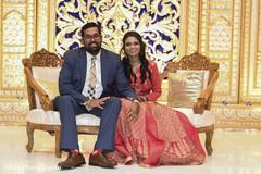 Indian couple reception fashion.