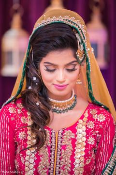 Sweet Pakistani bride pre wedding outfit.