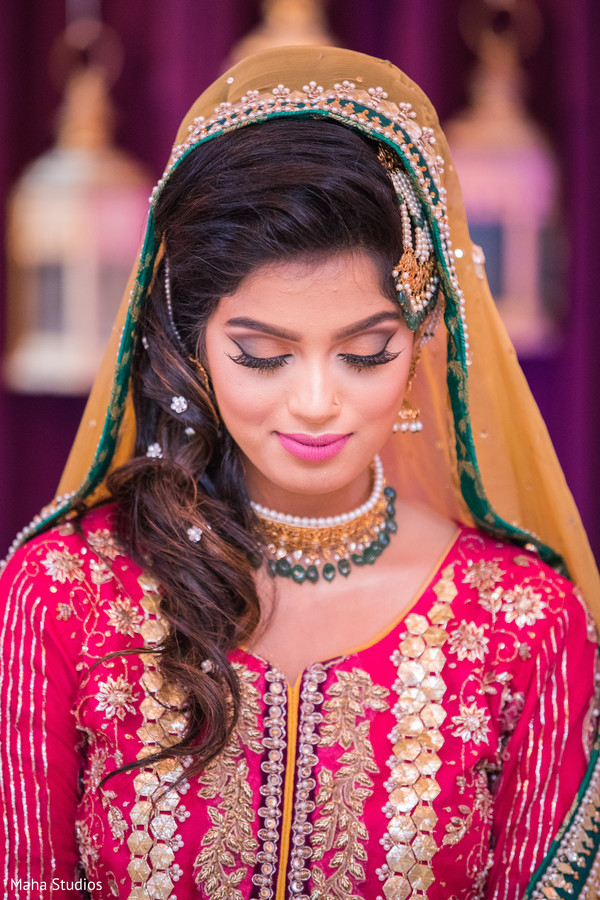 Sweet Pakistani bride pre wedding outfit.