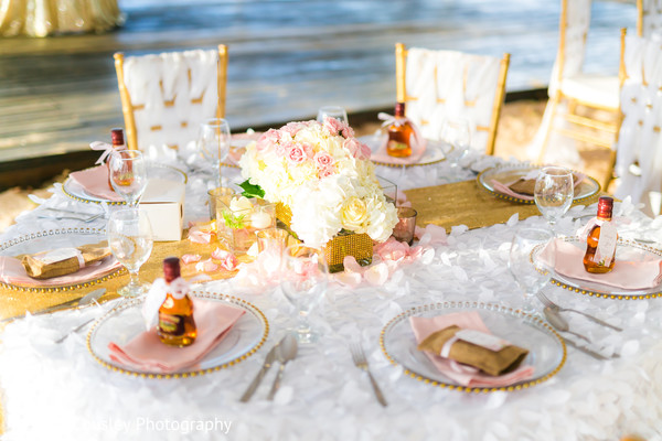Over the top indian wedding reception table decor in St.Ann, Jamaica Indian Fusion Wedding by Merrick Cousley Photography