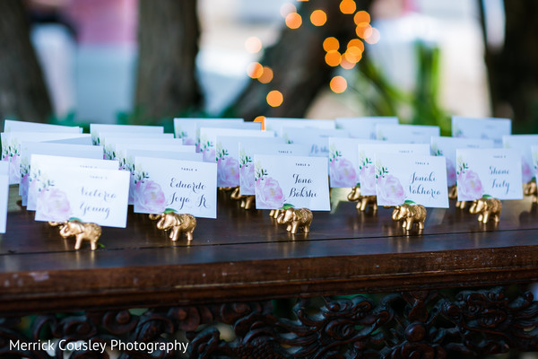 Creative indian wedding reception seating cards decor in St.Ann, Jamaica Indian Fusion Wedding by Merrick Cousley Photography