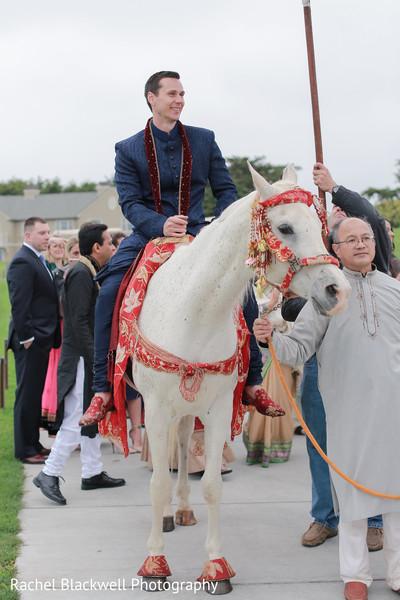 Groom riding baraat horse