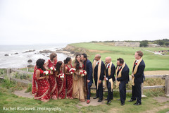 Indian bridal party by the Pacific Ocean coast