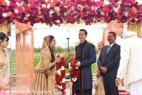 Joyful couple during their ceremony