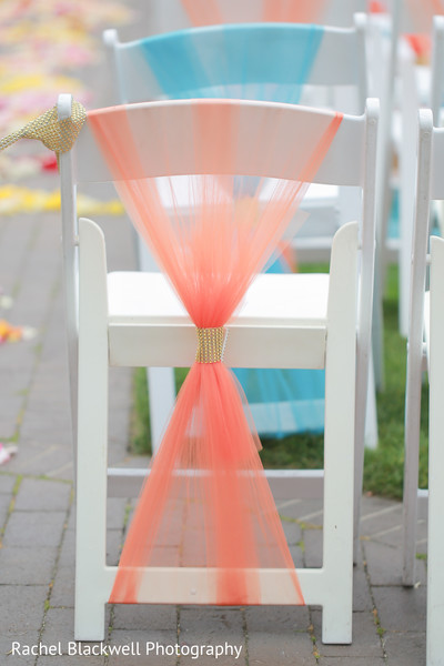 Indian wedding ceremony chairs wrapped in tulle