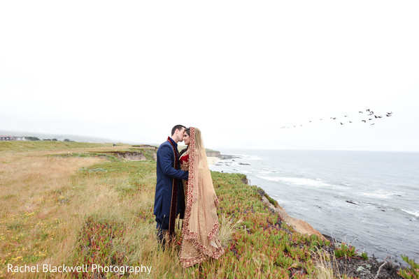 Stunning coastline indian newlyweds photo
