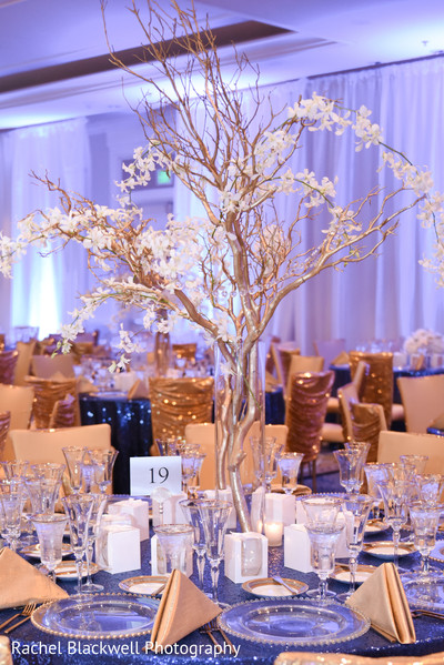 Stunning indian wedding reception centerpieces in Half Moon Bay, CA Indian Fusion Wedding by Rachel Blackwell Photography