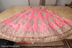 Pink and gold lengha skirt