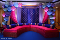 sangeet stage,floral and decor,pre- wedding celebrations