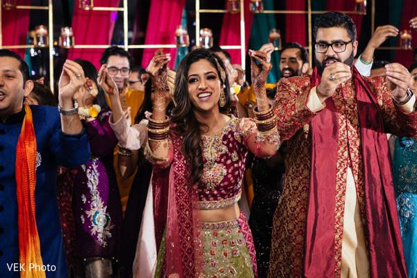 sangeet,pre- wedding celebrations,dj,performance,indian bride and groom