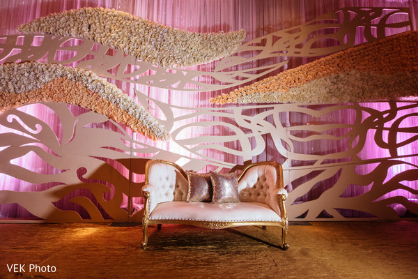 Indian wedding stage dreamy floral wall. in Dallas, TX South Asian Wedding by VEK Photo
