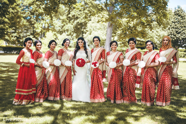 red sari,indian bridesmaids fashion,white wedding dress