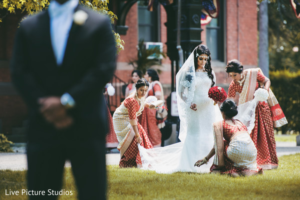 white wedding dress,indian bridesmaids,first look
