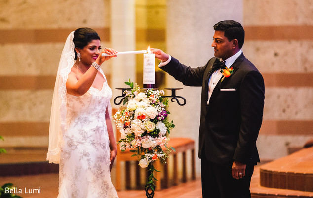 Traditional Christian wedding ceremony ritual in Texas City, TX South Asian Wedding by Bella Lumi