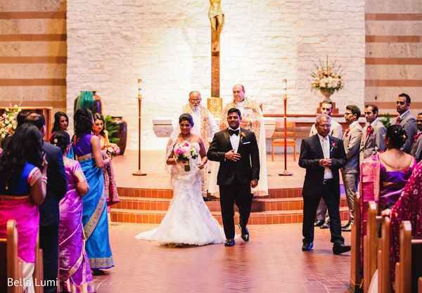 Sweet indian couple leaving their wedding ceremony in Texas City, TX South Asian Wedding by Bella Lumi