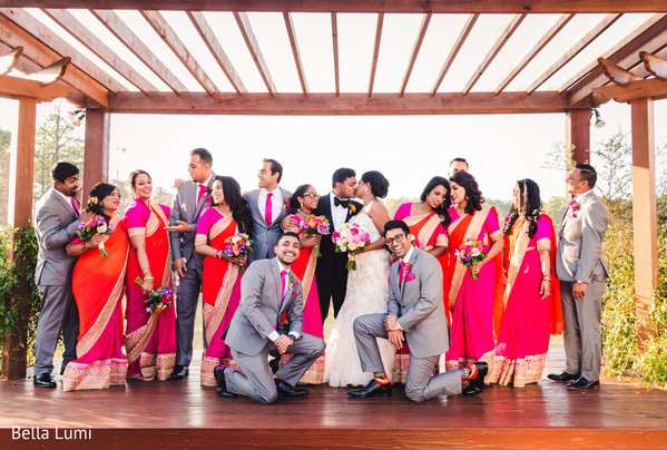 Indian couple and their wedding party in Texas City, TX South Asian Wedding by Bella Lumi