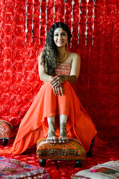 Ravishing indian bride's pre-wedding celebrations outfit