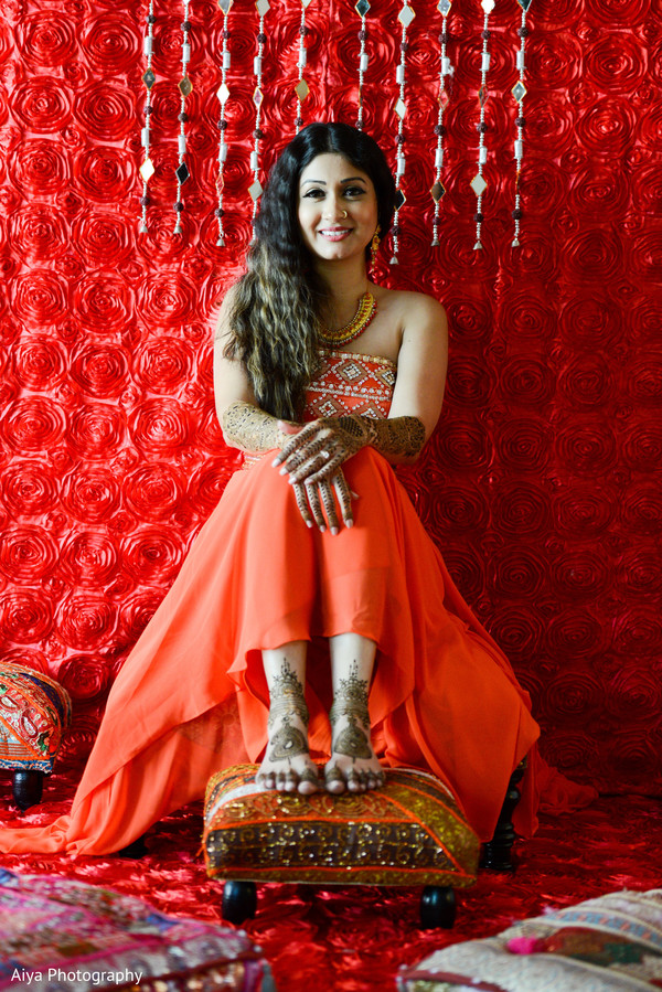 Ravishing indian bride's pre-wedding celebrations outfit in Glenview, IL Indian Wedding by Aiya Photography