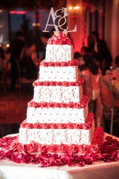 wedding cake,white wedding cake,white and red cake